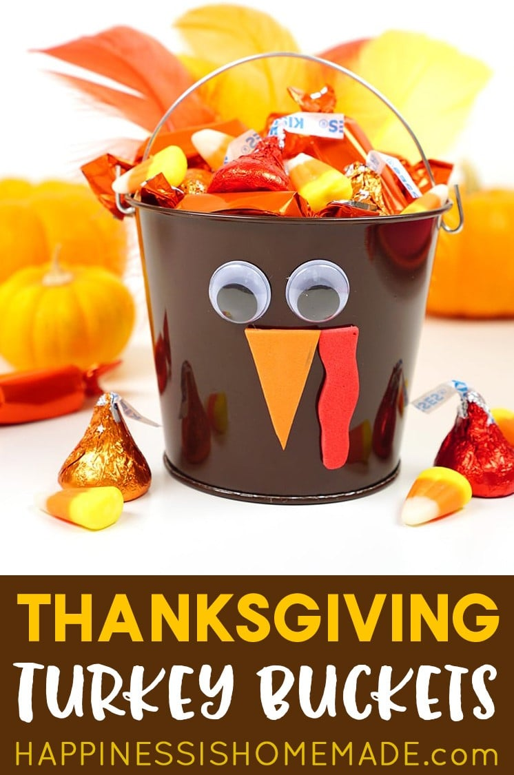 Thanksgiving Turkey Treat Buckets with Candy inside