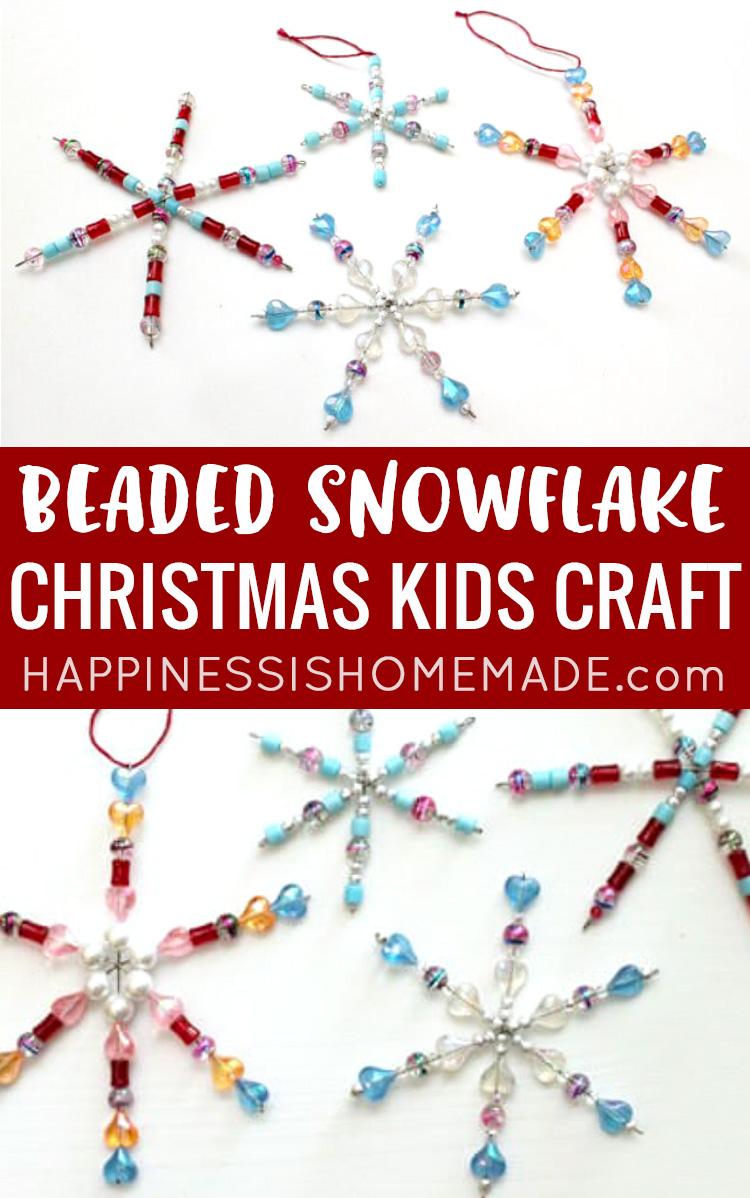 Beaded Snowflake Christmas Kids Craft