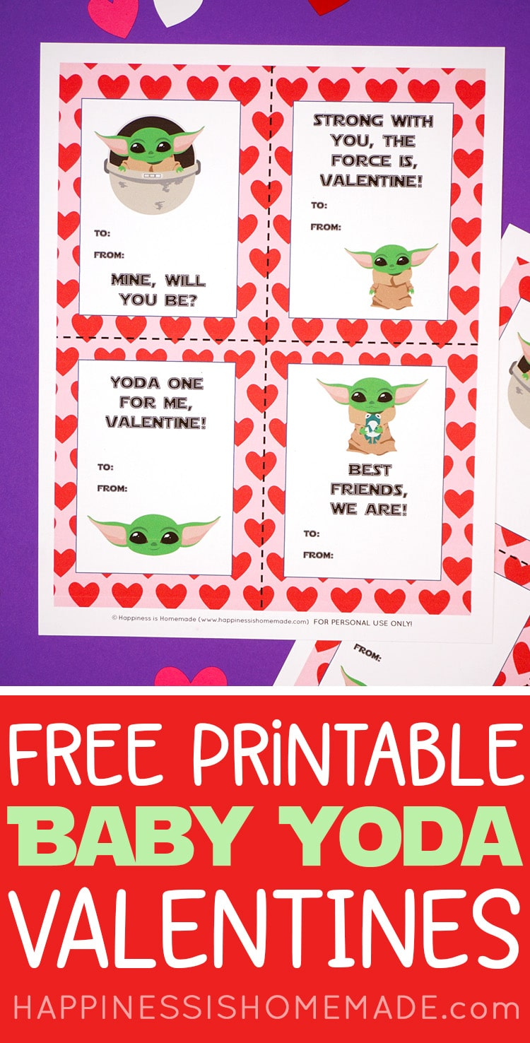 Printable Baby Yoda Valentine Cards for Kids