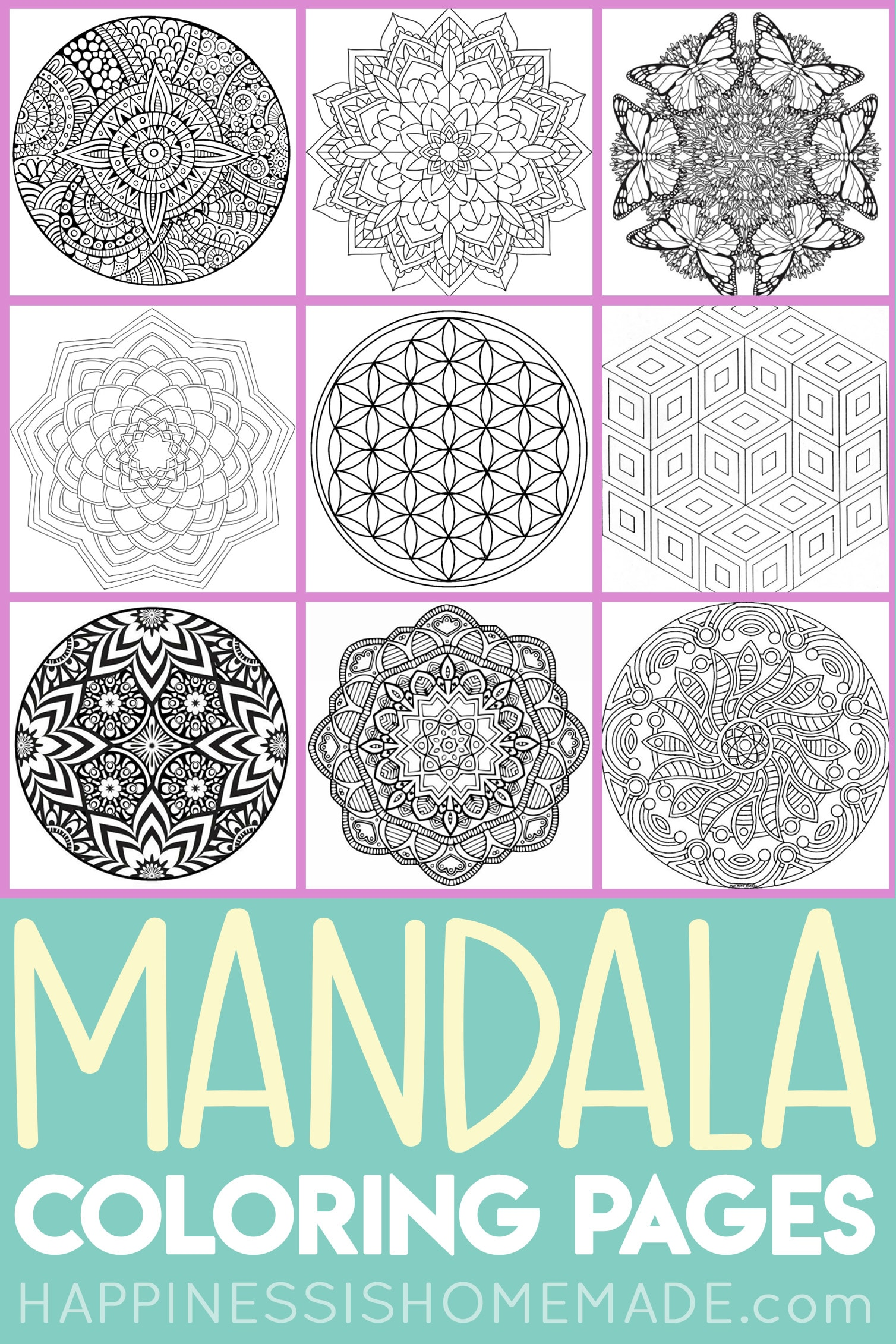 Mandala Coloring Pages For Adults Kids Happiness Is Homemade