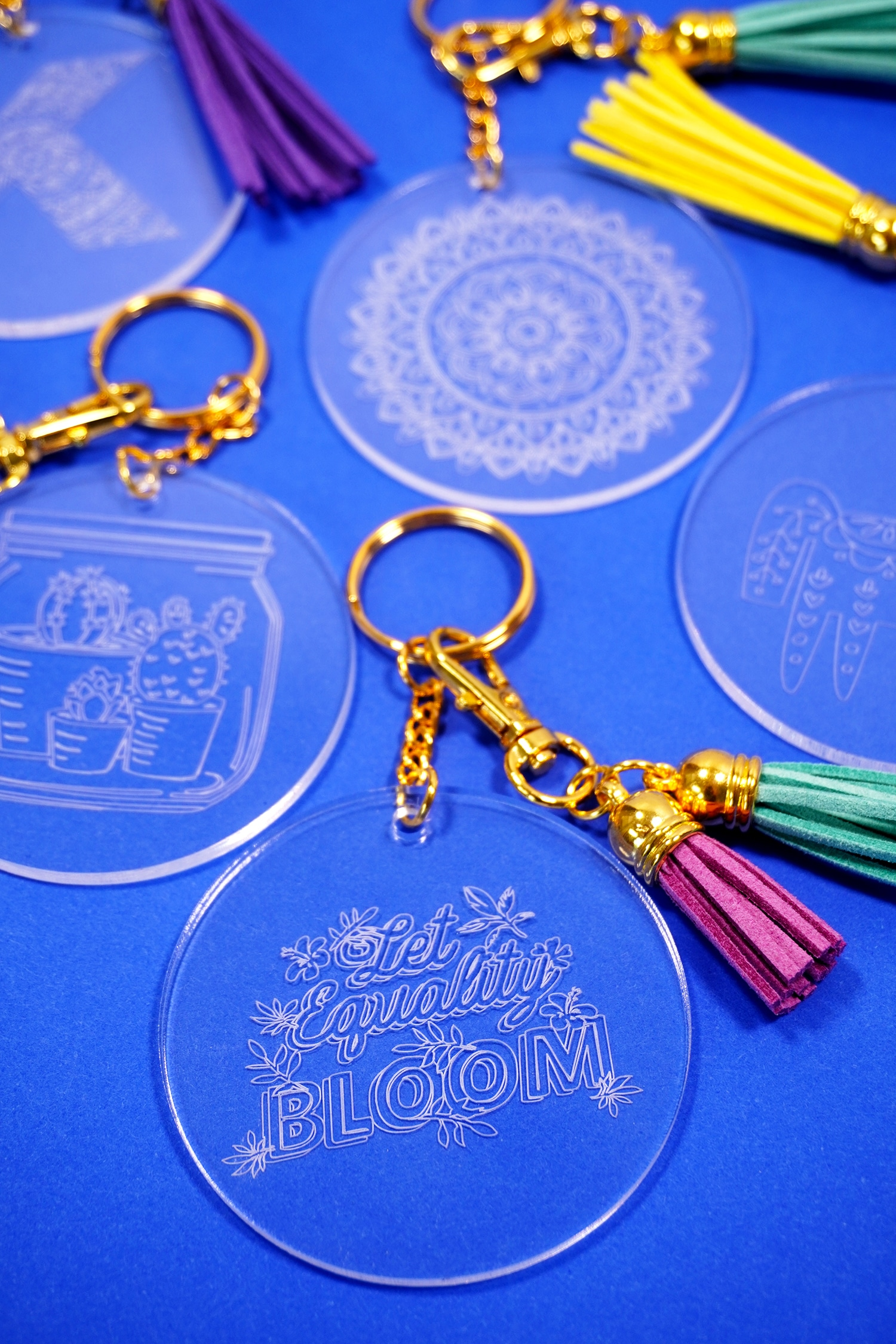 Let Equality Bloom engraved acrylic keychain made with Cricut Maker Engraving Tip