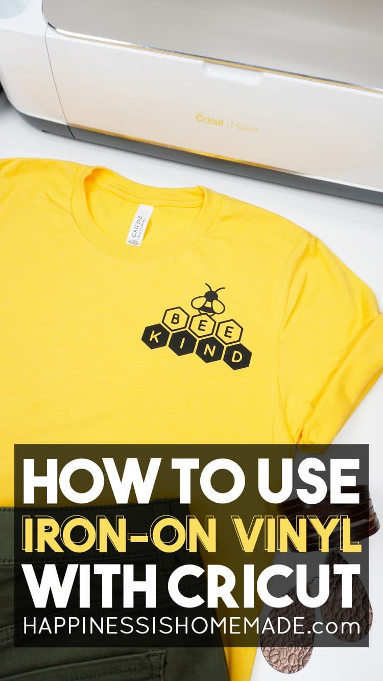 "Yellow ""Bee Kind"" shirt with ""How to Use Iron-on Vinyl"" text"