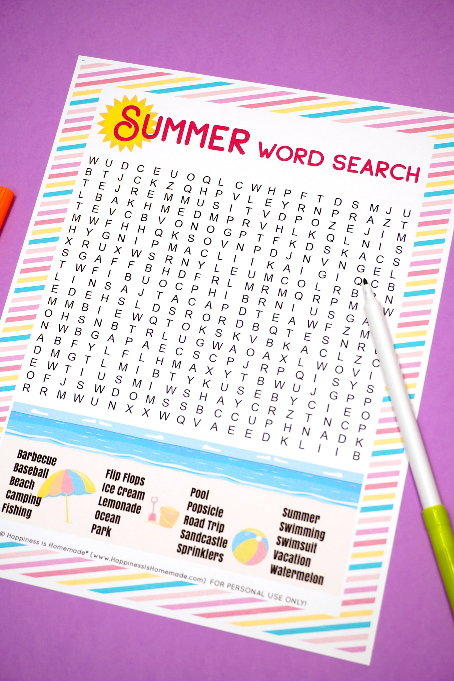 Summer word search on purple background with green marker