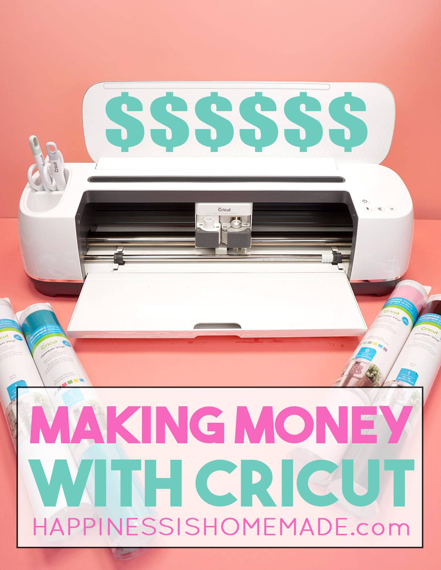 """Cricut maker with the text, \""""Making Money with Cricut\"""""""