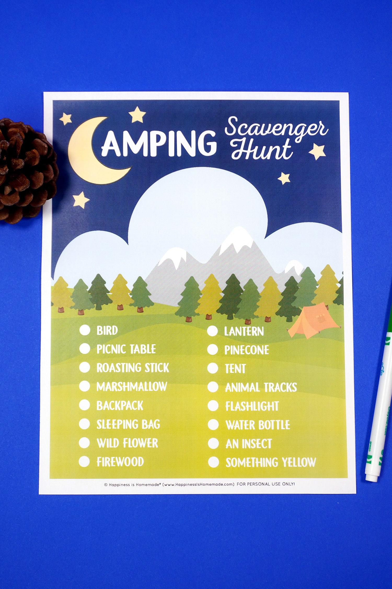 Printable Camping Scavenger Hunt game on blue background with pinecone and green pen