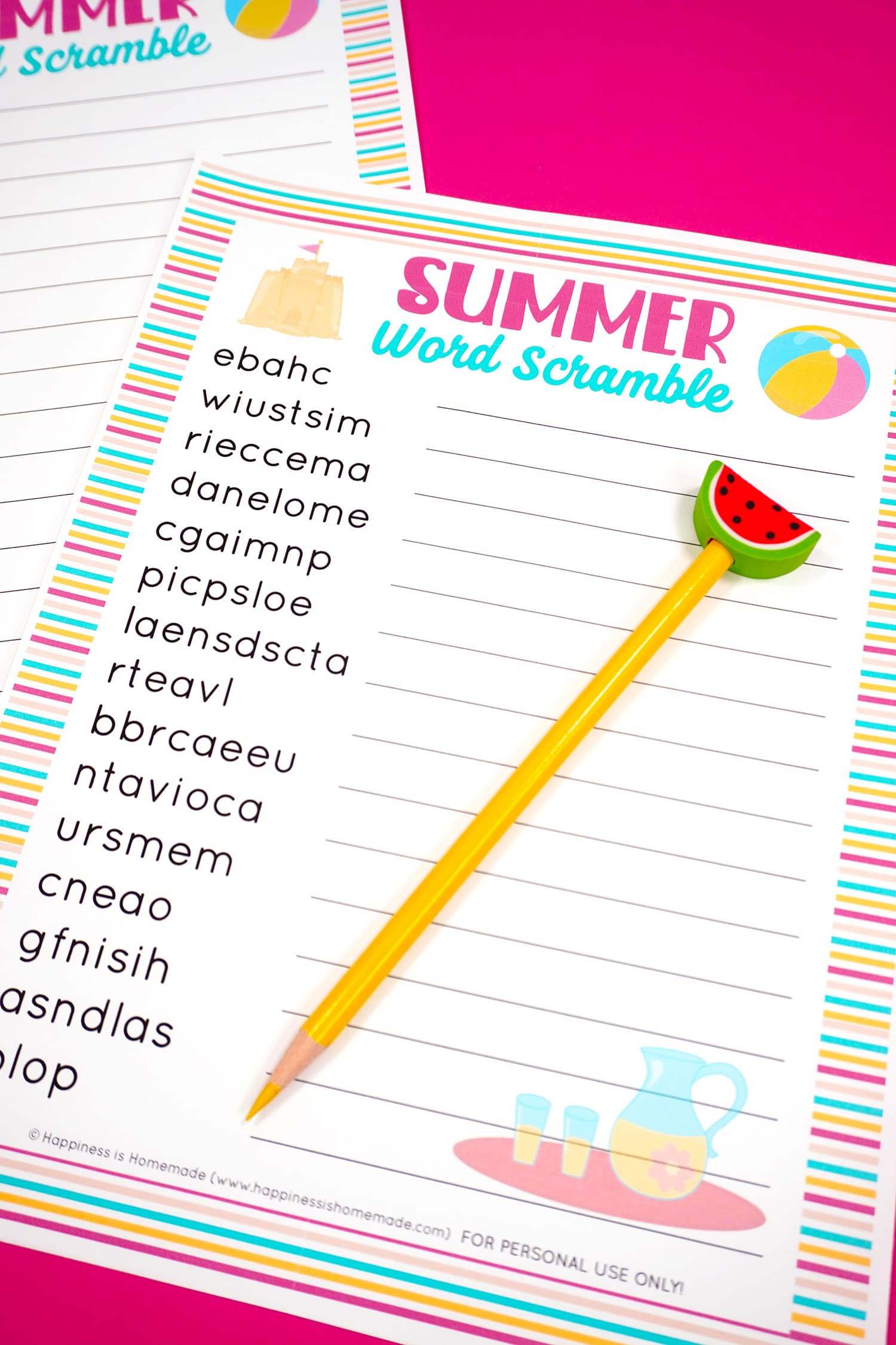 Summer Word Scramble printable game on pink background with yellow pencil with watermelon topper