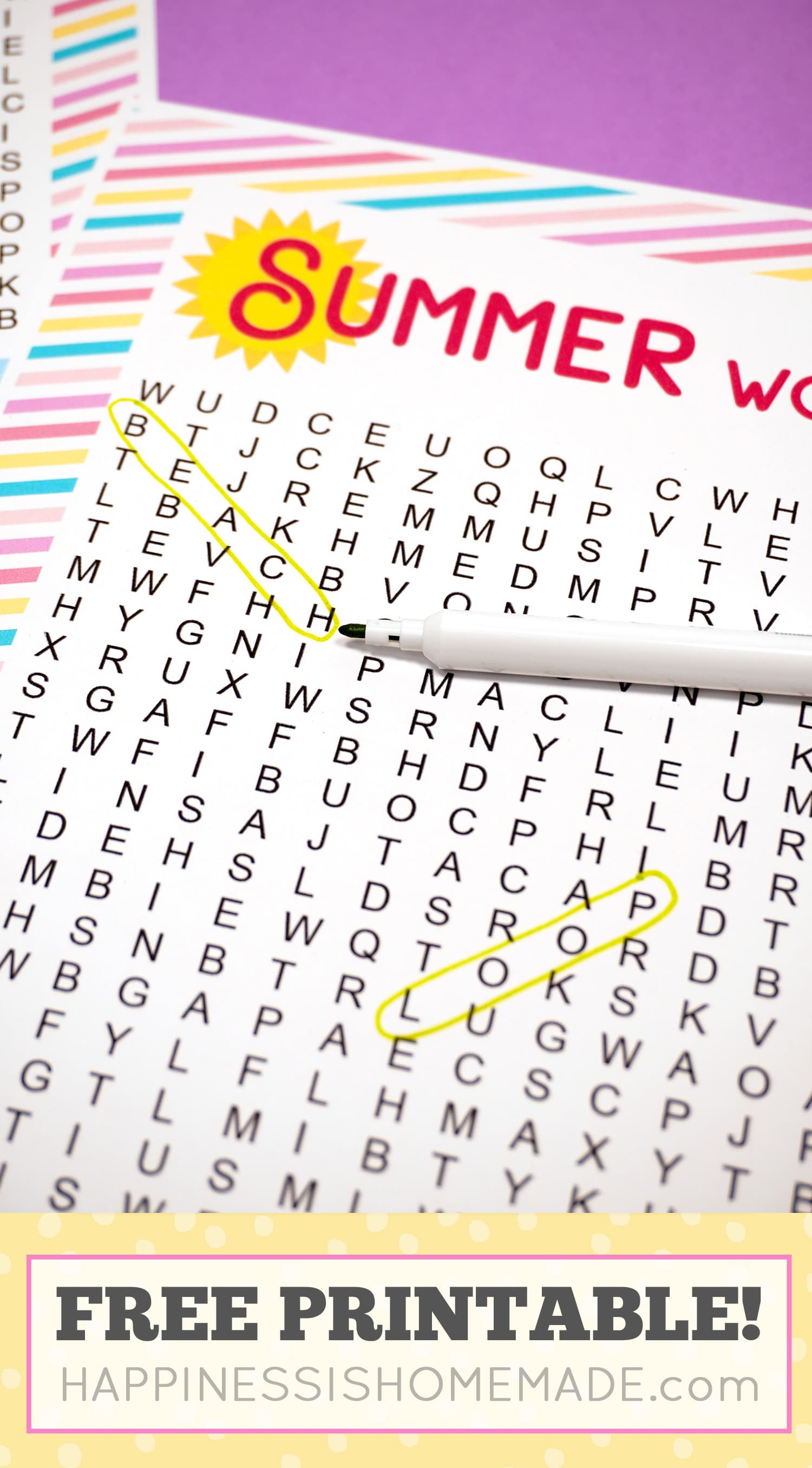 "Summer word search with the words ""beach\"" and \""loop\"" circled in yellow."