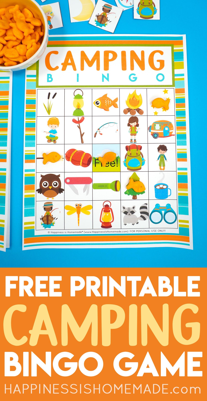 "\""Free Printable Camping Bingo Game\"" graphic"