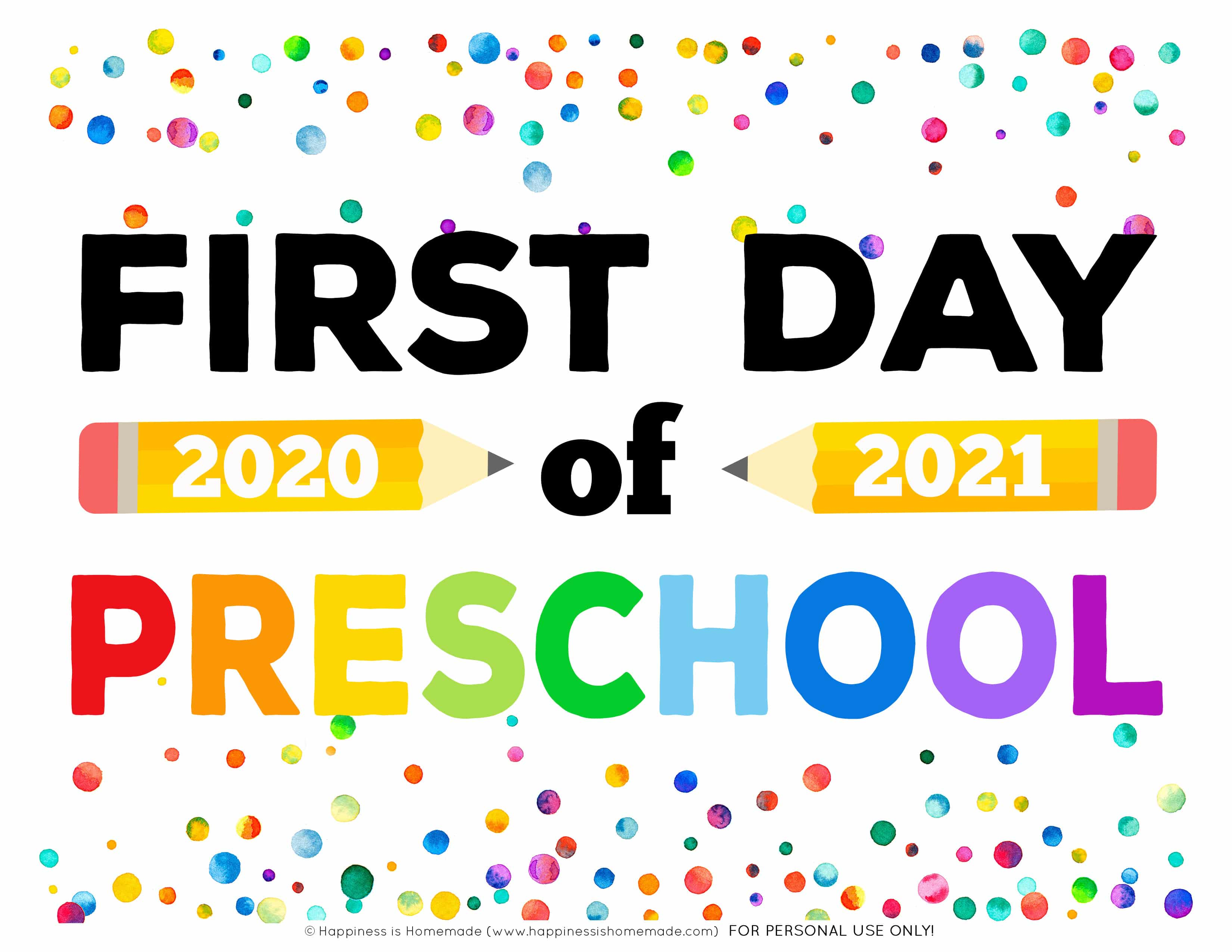First Day of Preschool 2020-21 Printable Sign