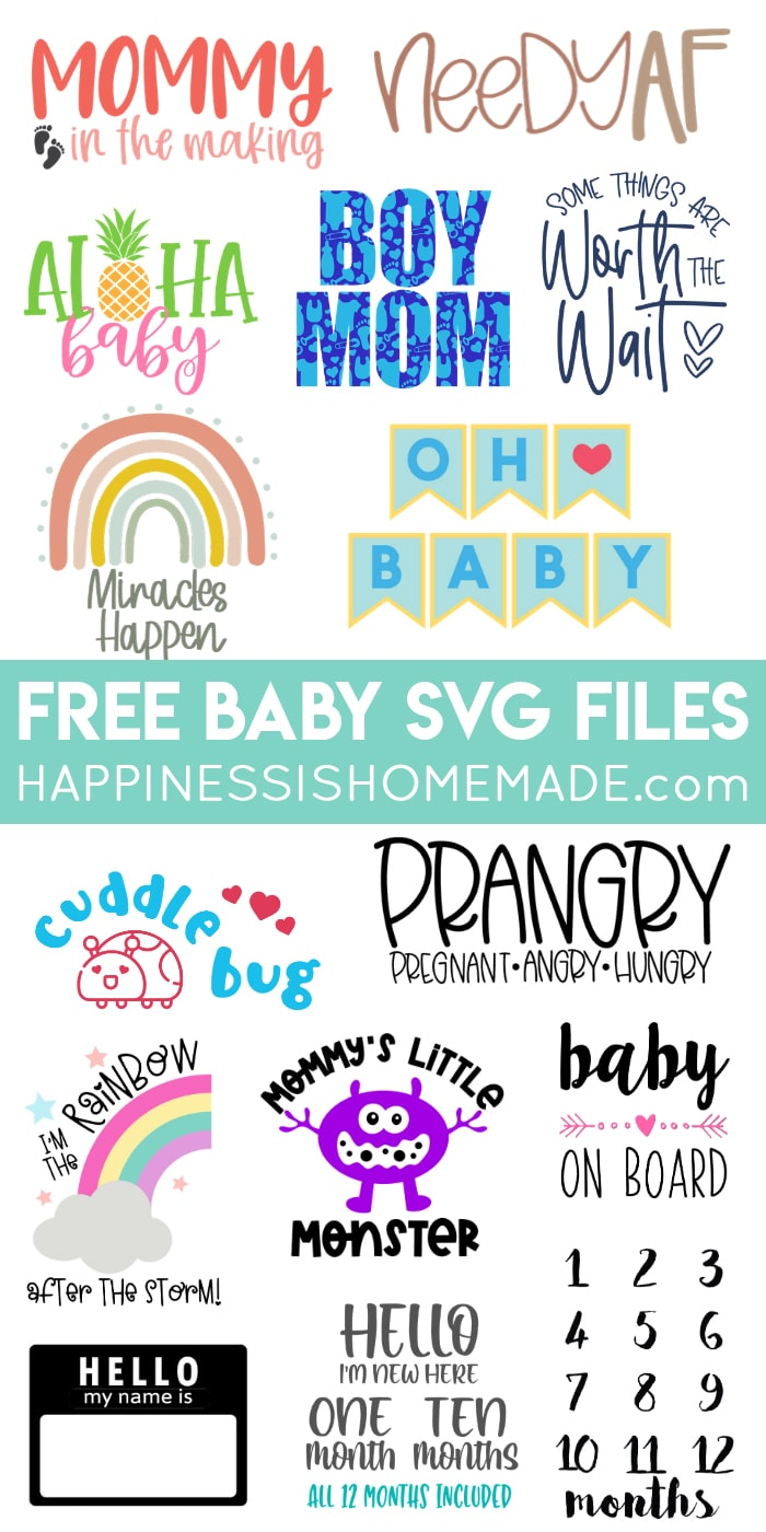 Collage of free baby and pregnancy SVG files