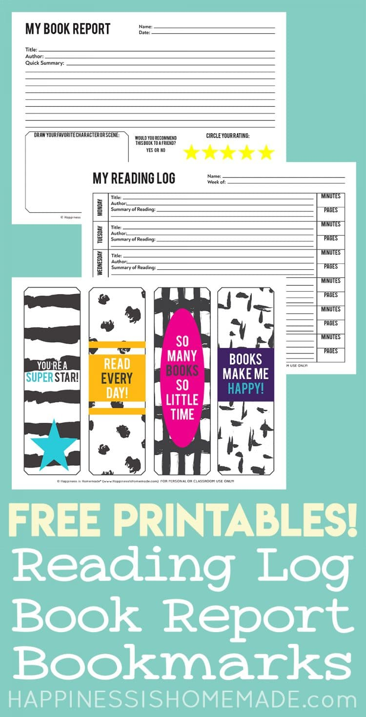 Printable reading log, book report, and bookmarks on teal background