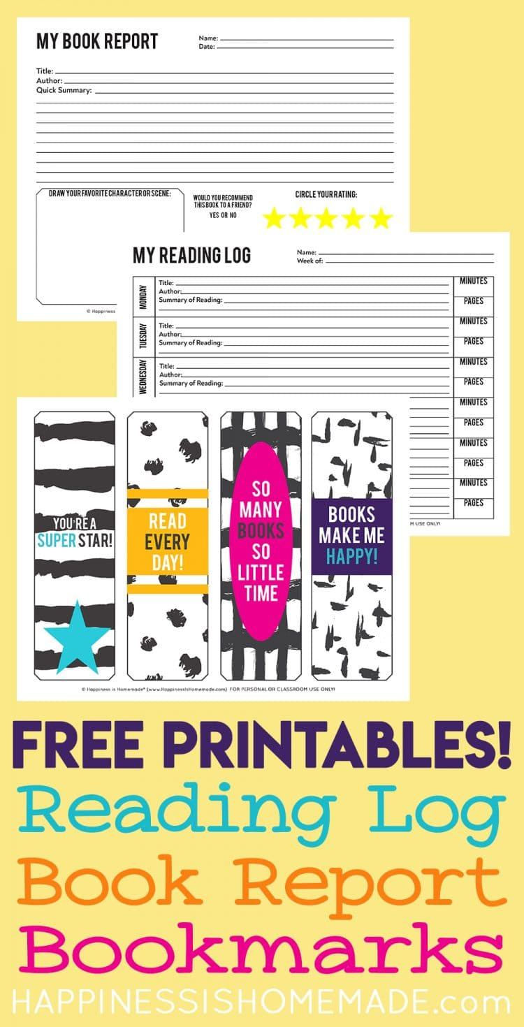 Printable reading log, book report, and bookmarks on yellow background