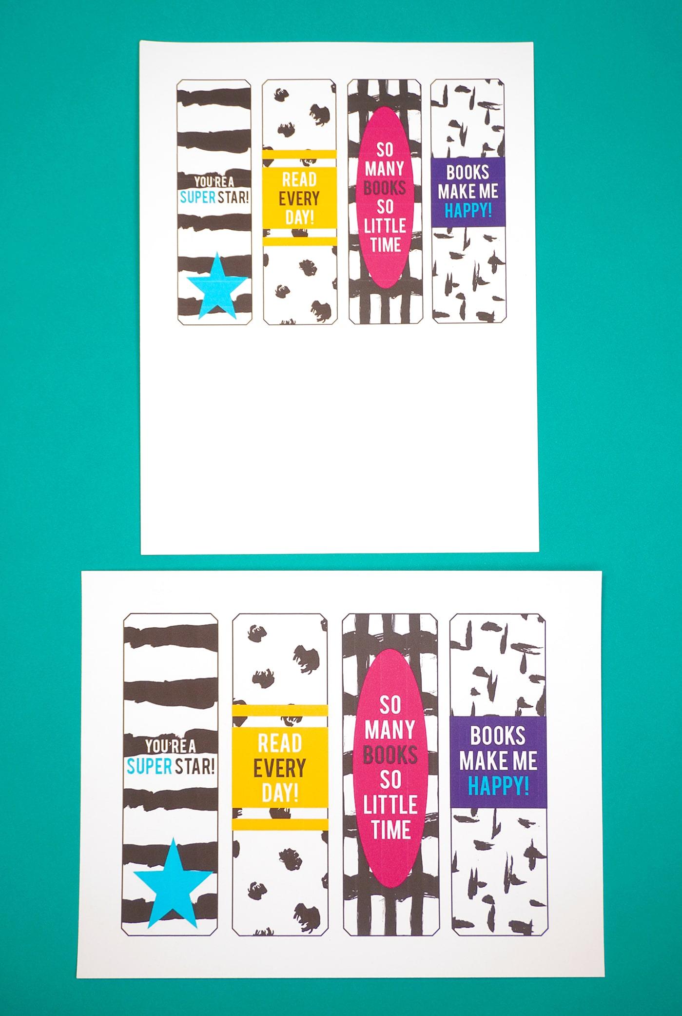 Printable bookmarks on teal backround
