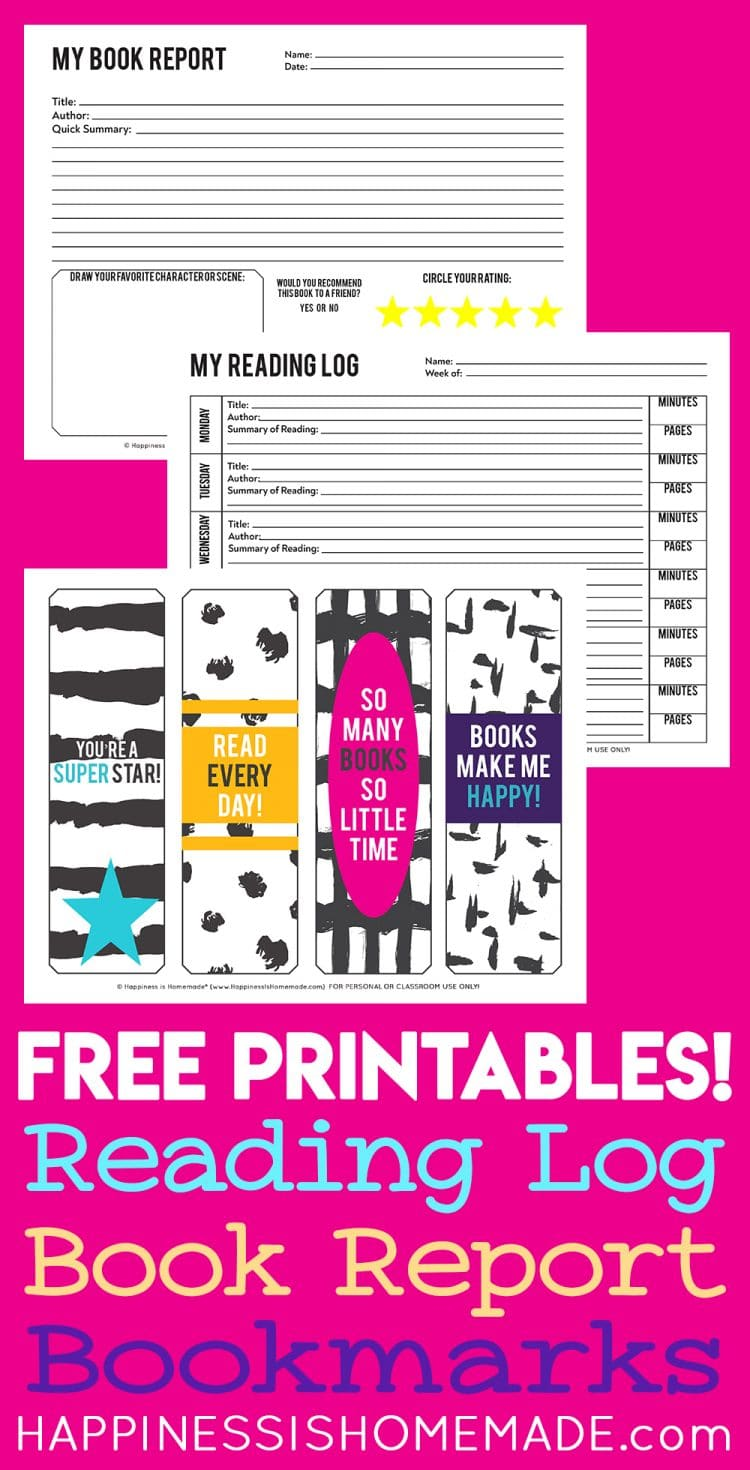 Printable reading log, book report, and bookmarks on pink background