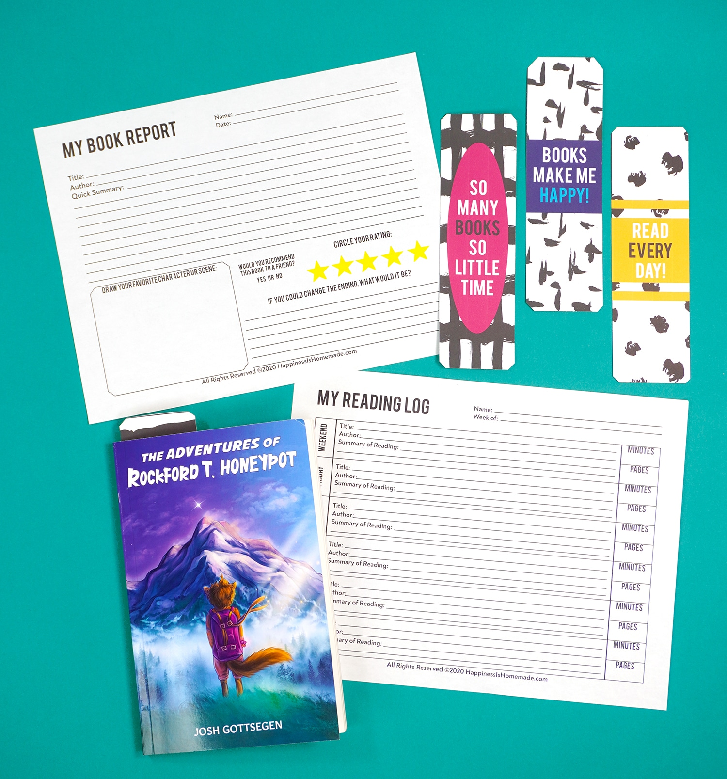 Printable reading log and book report with bookmarks and kids book on teal background