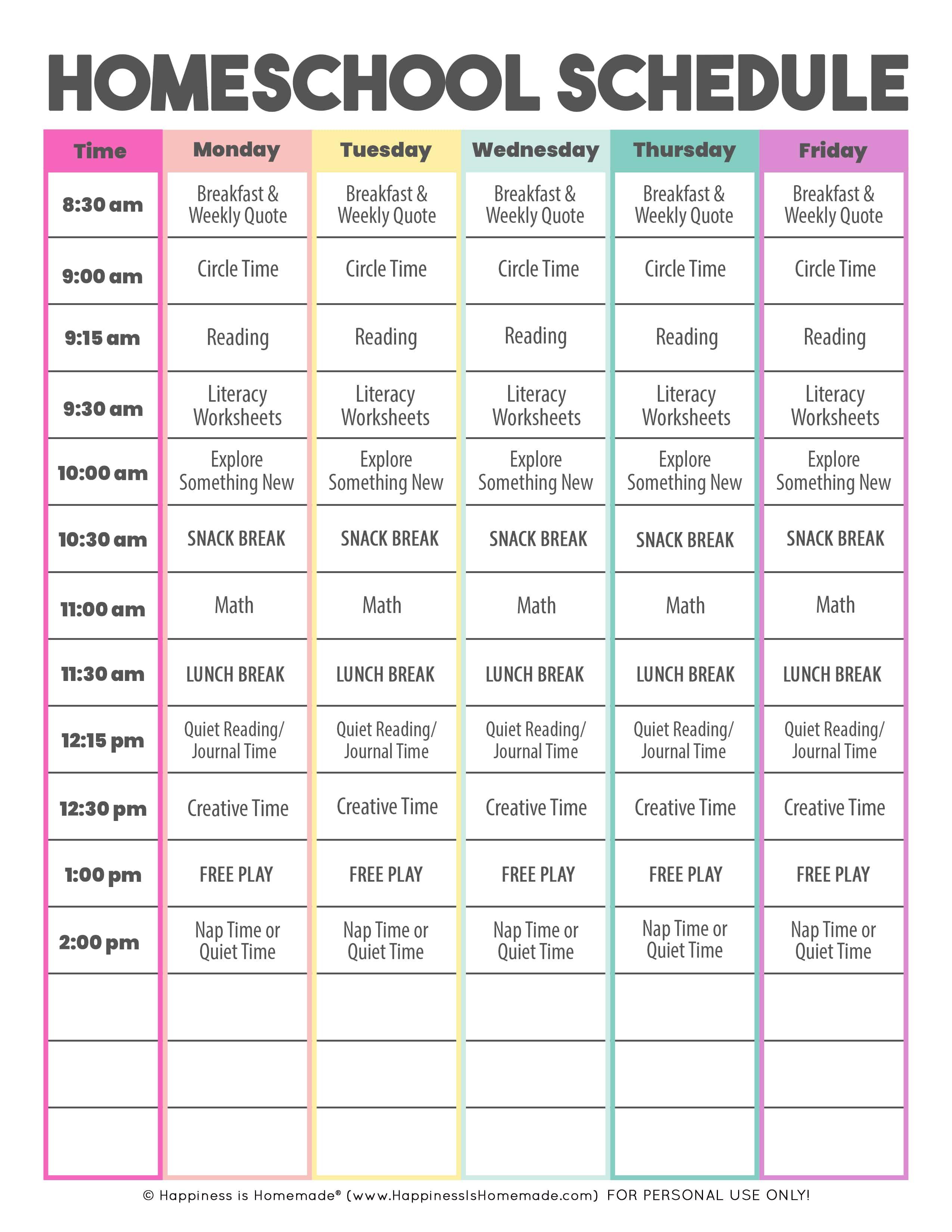 Sample kindergarten homeschool schedule - daily and weekly
