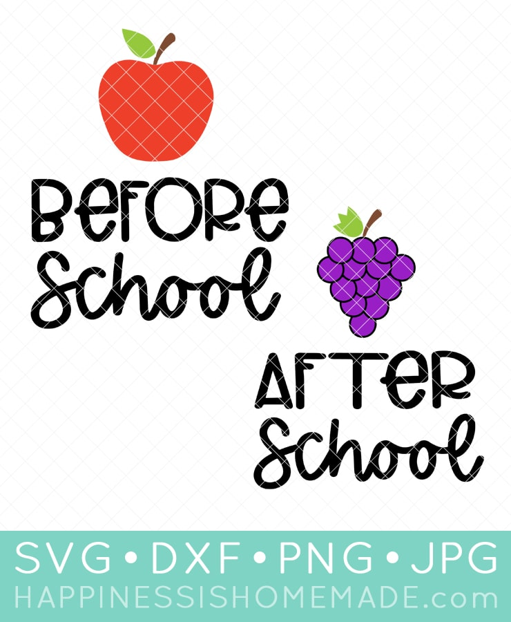 """Before School"" with Apple and ""After School"" with grapes SVG file set"