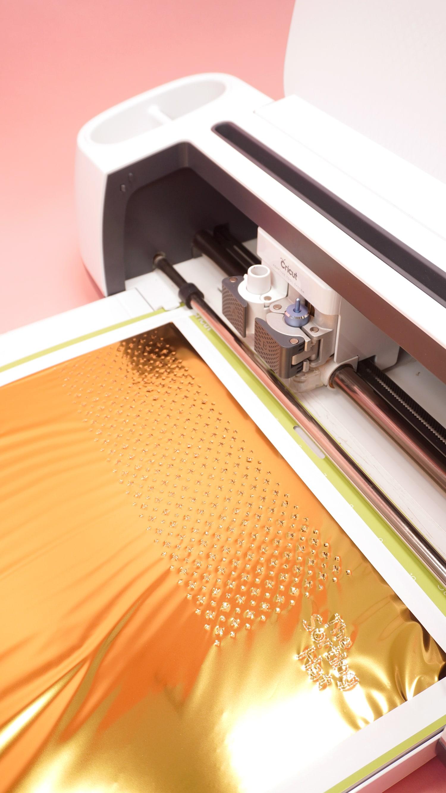 Cricut Gold Foil Transfer System on Mat in Cricut Maker