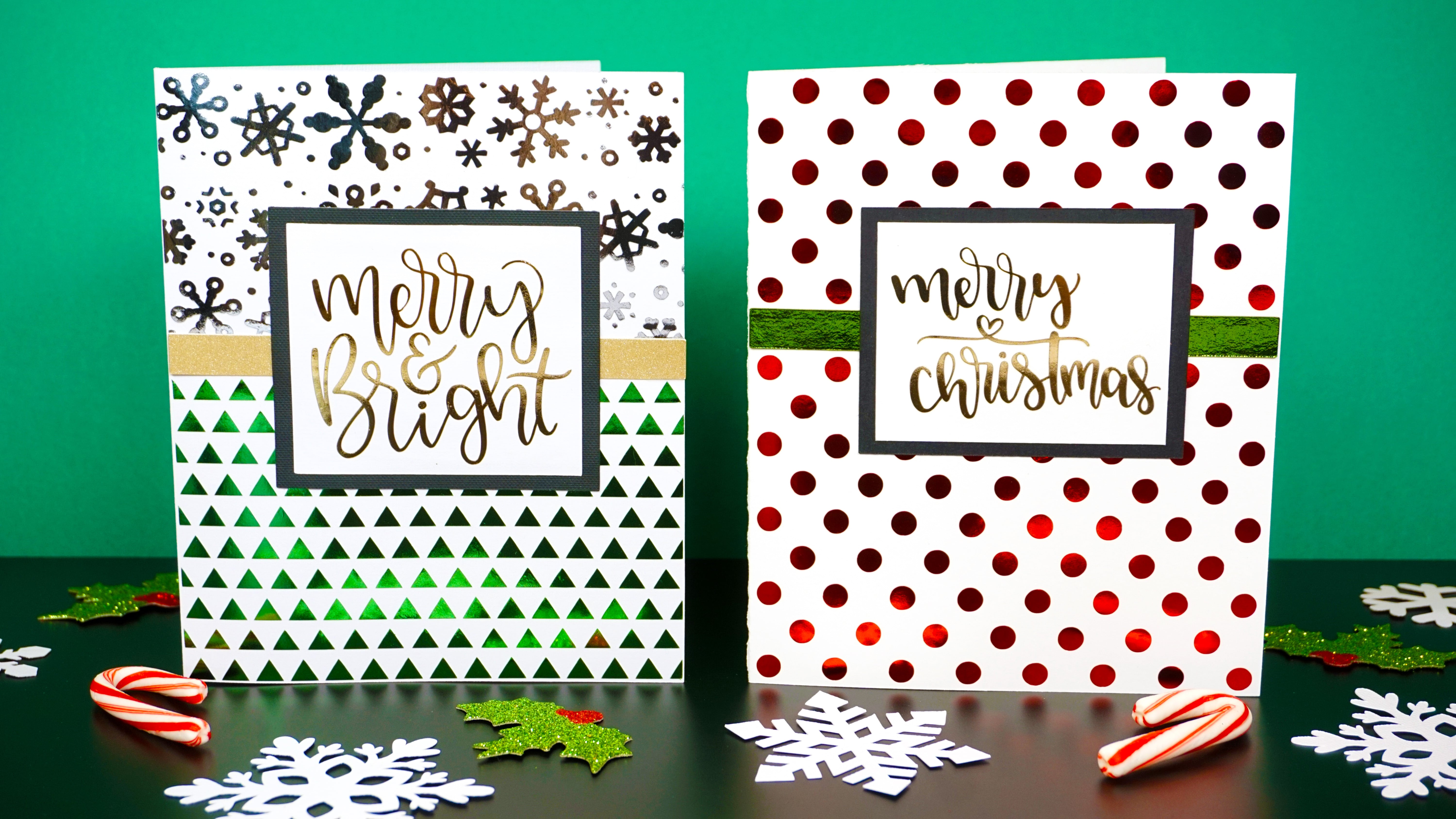 Red, green, and gold foil Christmas cards made with Cricut foil iron-on