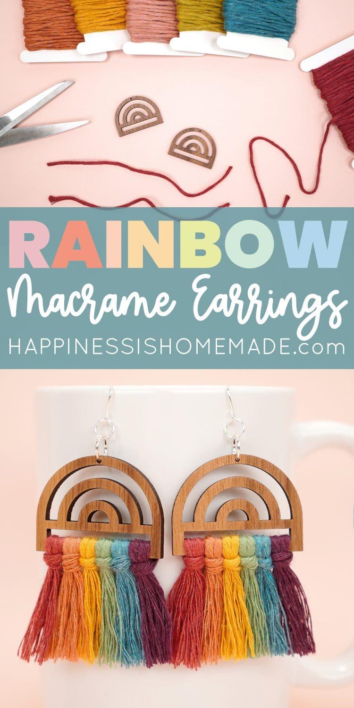 Make These Cute Rainbow Earrings with Macrame Wood Frames pin