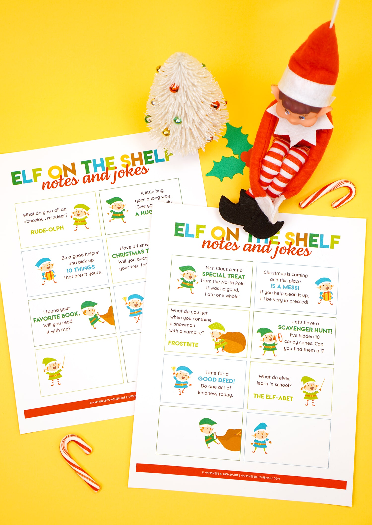 Elf doll on a yellow background with printed Elf on the Shelf note and joke card printable sheets around him and candy canes and Christmas decorations in the background.