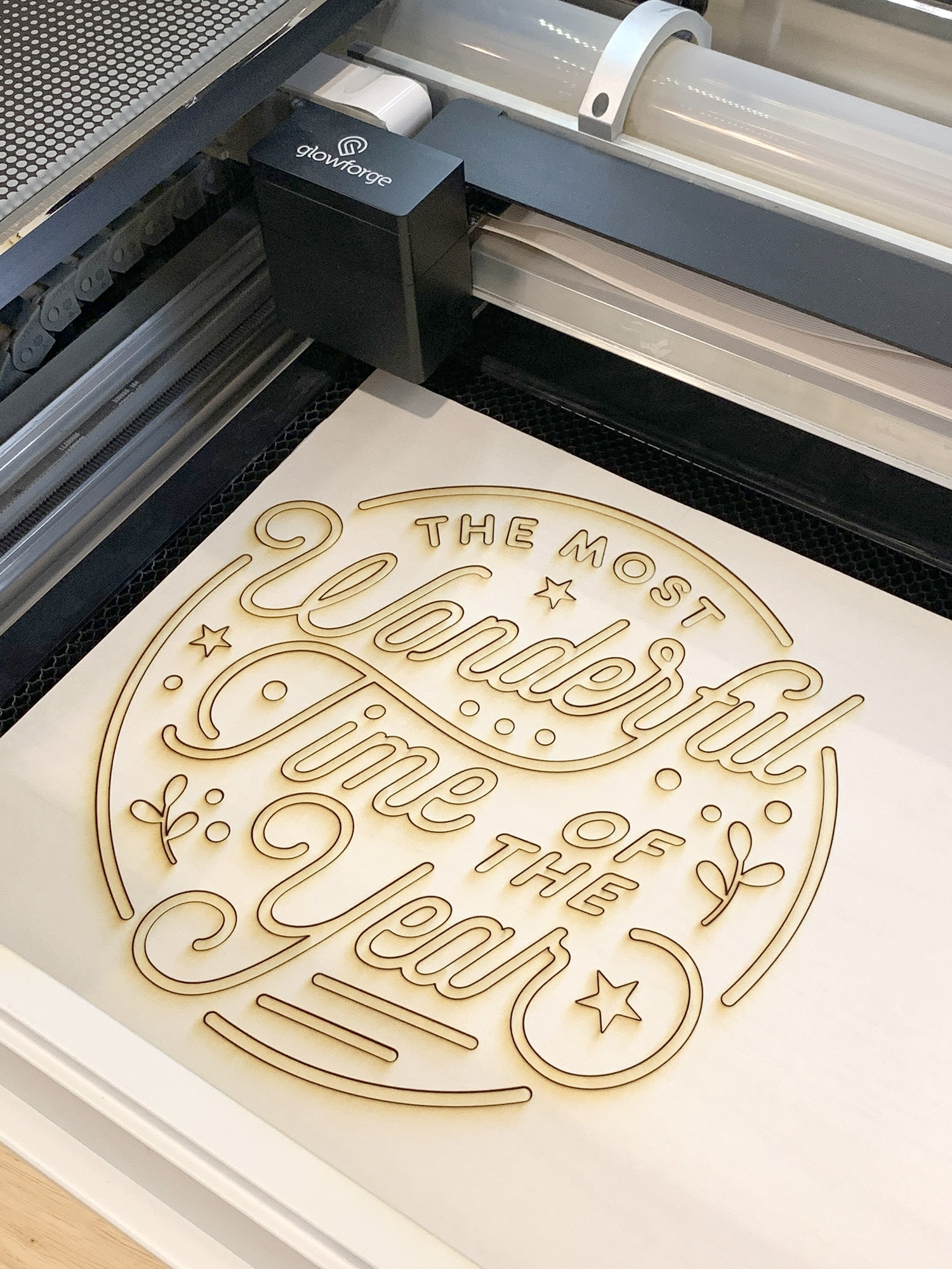 """""""The Most Wonderful Time of the Year"""" Christmas Sign Pieces in Glowforge Machine"""