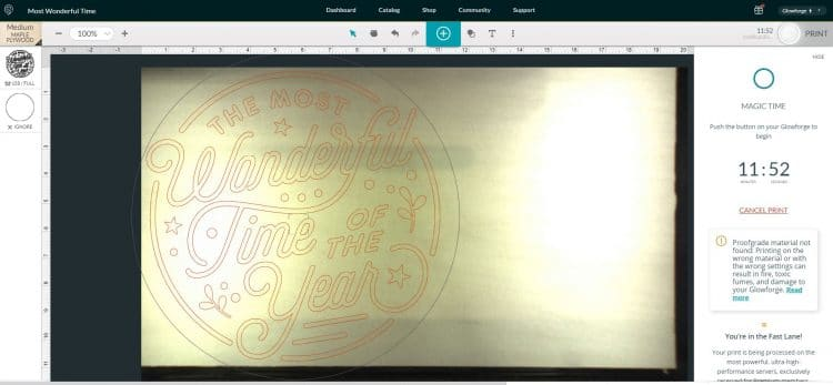 Screenshot of Glowforge App Software