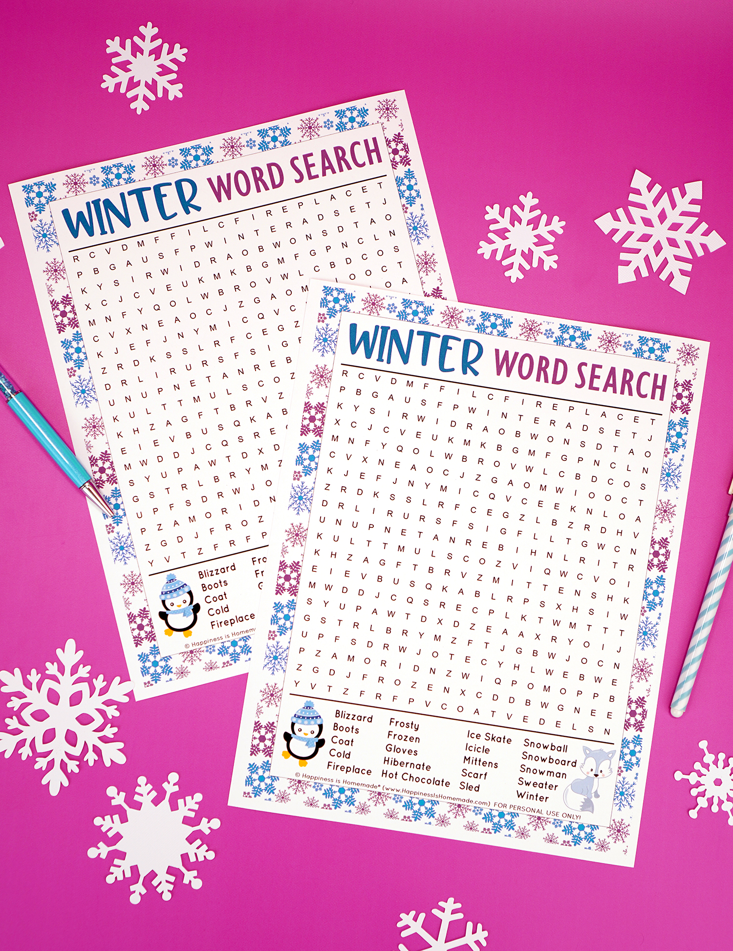 Two Winter word search printables on purple background with snowflakes and blue pens