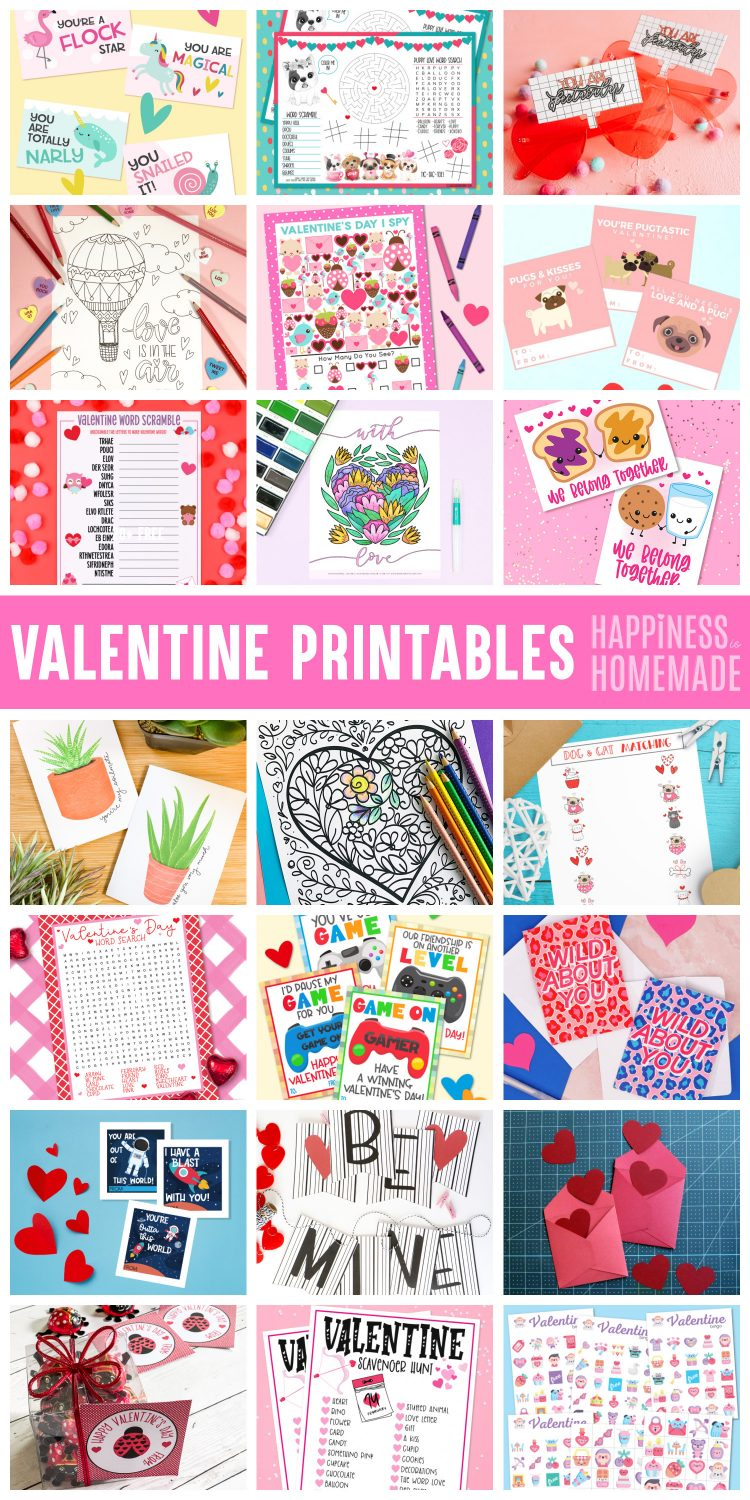 Collage of 20+ Free Valentine Printables