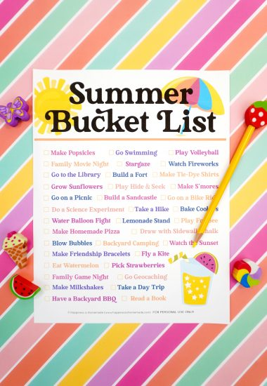 Summer Bucket List printable on a colorful striped background with yellow pencil and summer novelty erasers