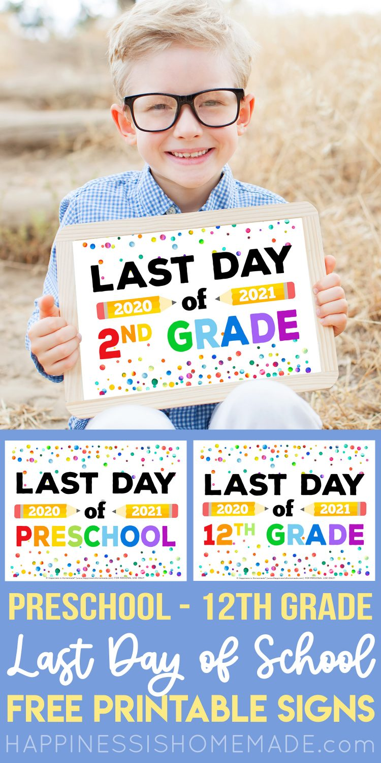 Printable Last Day of School Signs graphic with boy holding sign