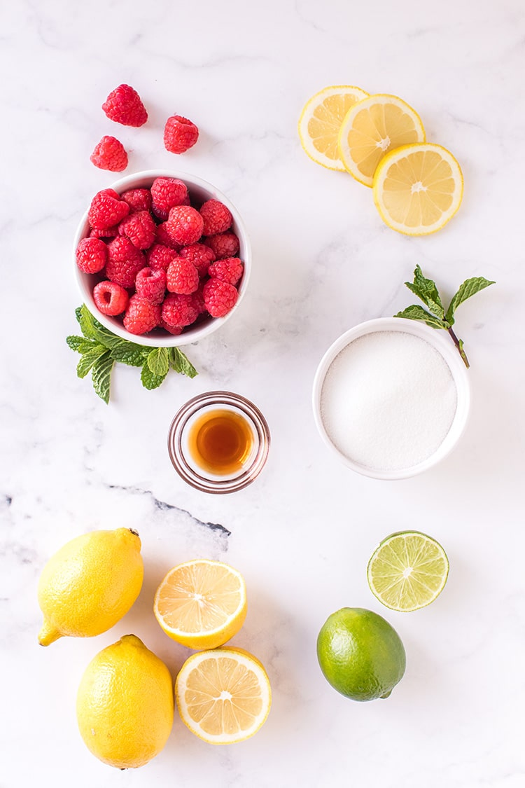 Fresh lemons, limes, raspberries, sugar, and vanilla extract on a marble background