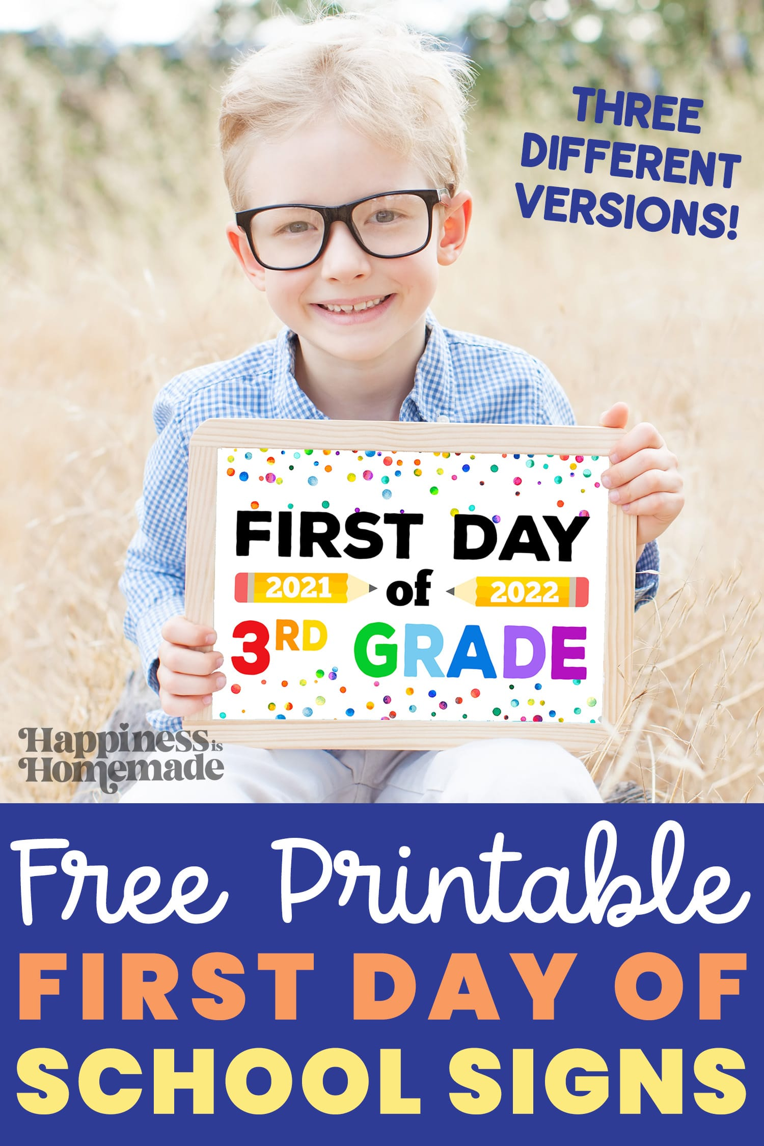 Cute blonde boy with glasses holding a printable First Day of School Sign 2021 2022