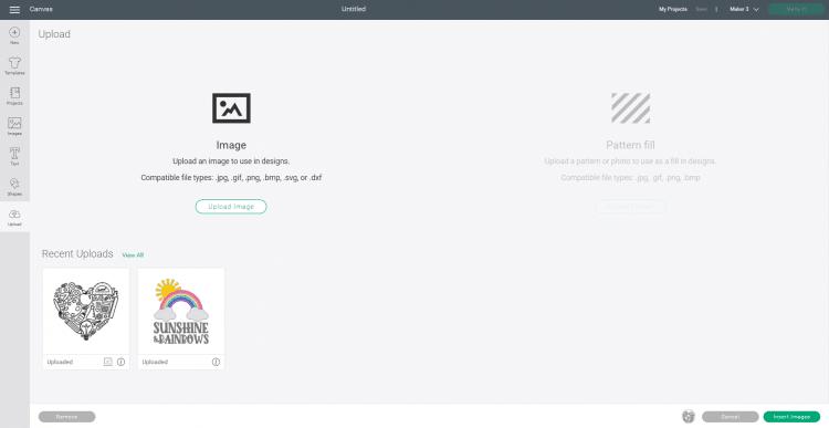 Software Screenshot - Uploading a New SVG to Cricut Design Space