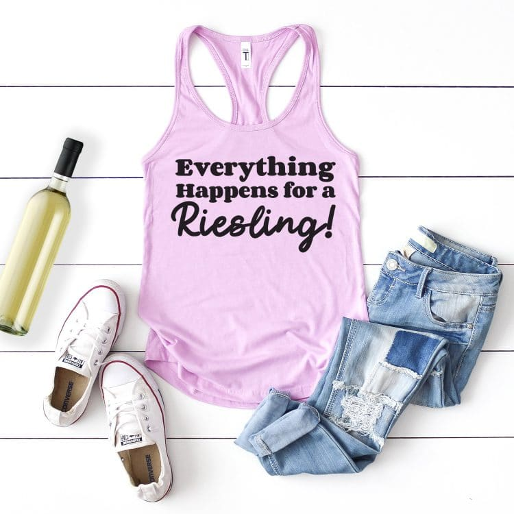 """Lavender tank top with """"Everything Happens for a Riesling"""" design styled with outfit and bottle of wine"""