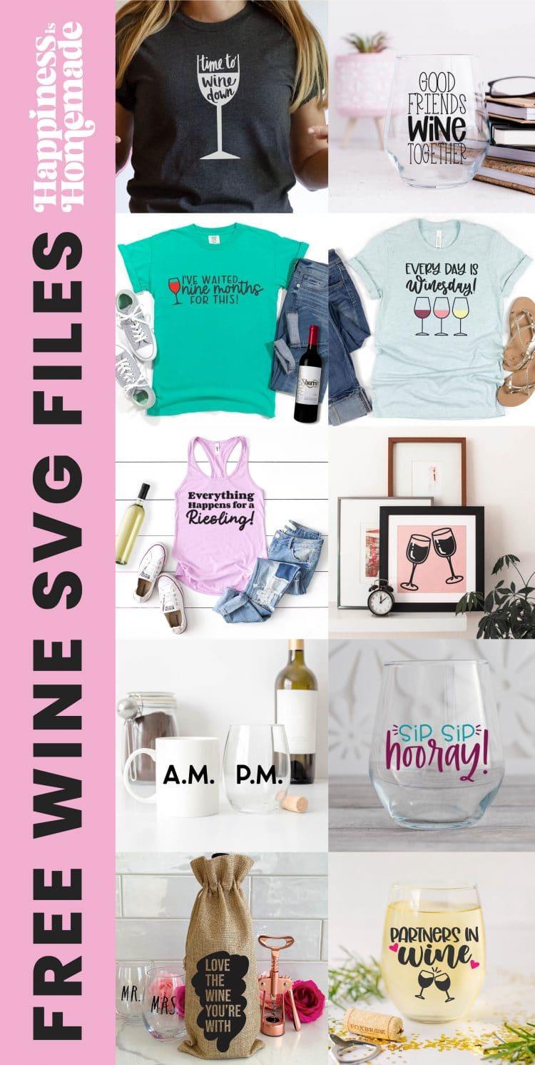 Collage image of ten free wine SVG files