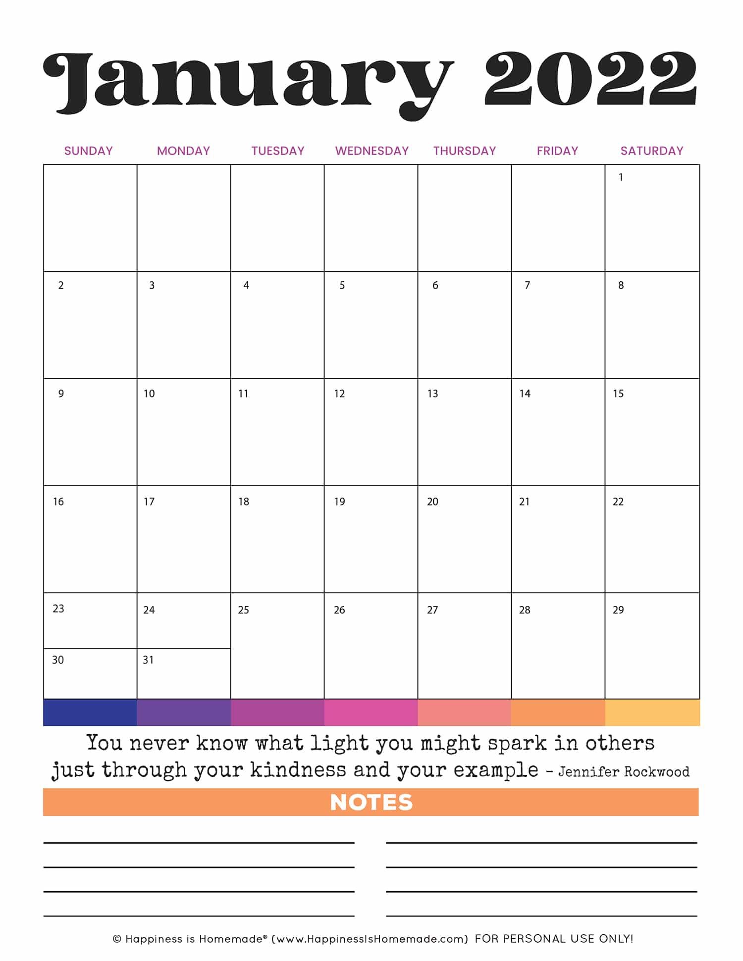 Colorful January 2022 printable calendar with inspirational quote