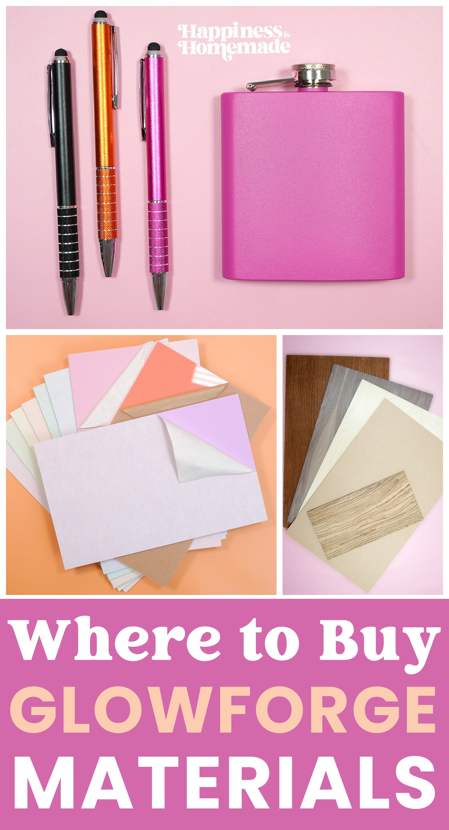 """""""Where to Buy Glowforge Materials"""" collage graphic"""