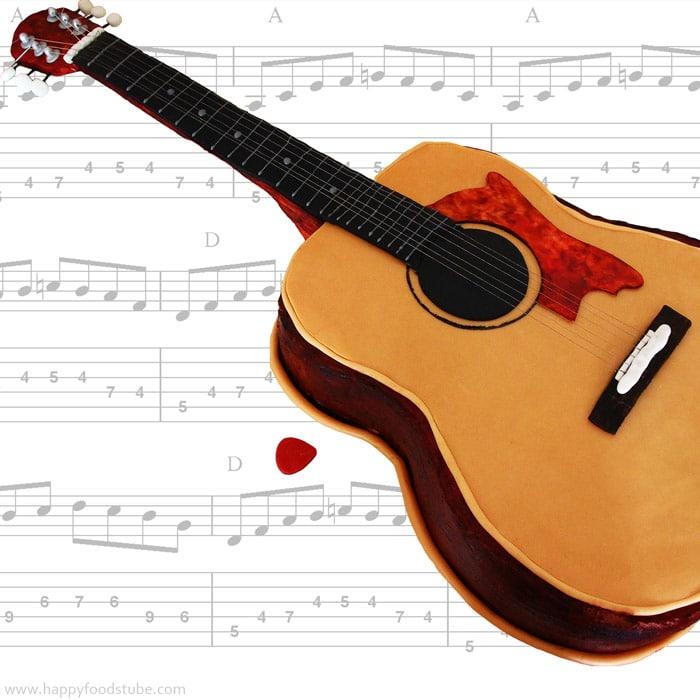 Acoustic Guitar Fondant Cake Video Tutorial Happyfoods