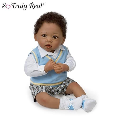 Realistic Baby Doll Boy Curly Hair