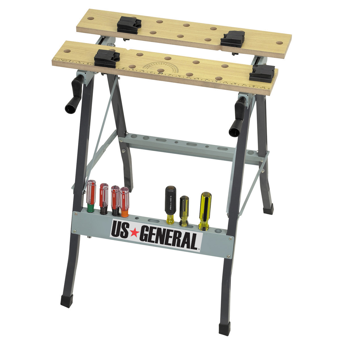 Folding Clamping Workbench With Movable Pegs