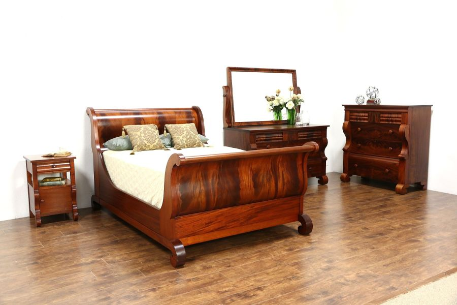 SOLD   Empire Antique 4 Pc  Bedroom Set  Full Size Sleigh Bed     Empire Antique 4 Pc  Bedroom Set  Full Size Sleigh Bed  Signed Berkey   Gay