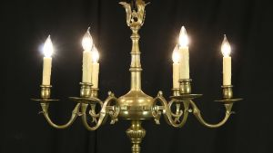 SOLD Patinated Brass 1920's Antique 6 Candle Chandelier