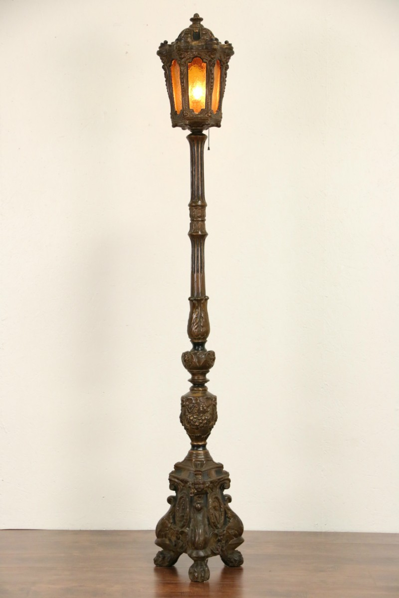 Sold Floor Post Lantern With Hand Painted Angels 1915