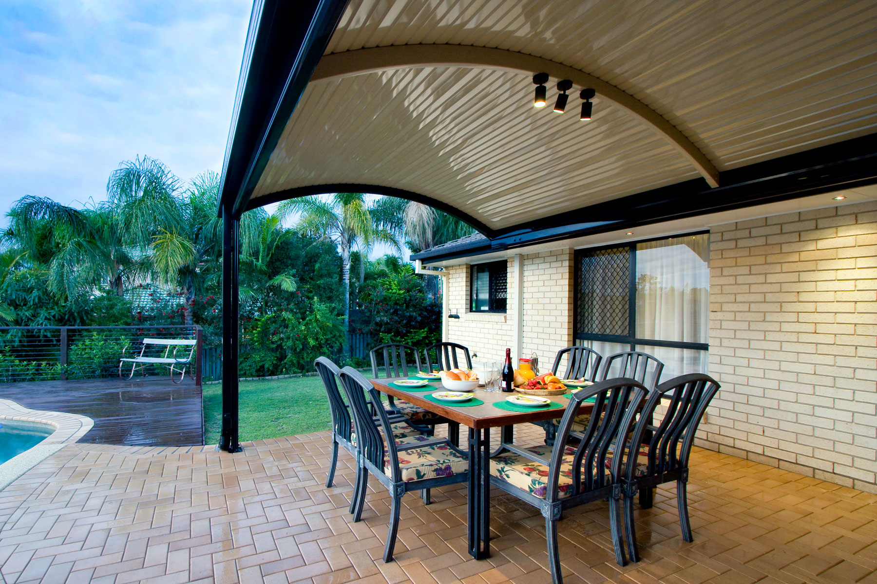 Patio With Curved Roofs Stratco Outback Curved Roof Patio