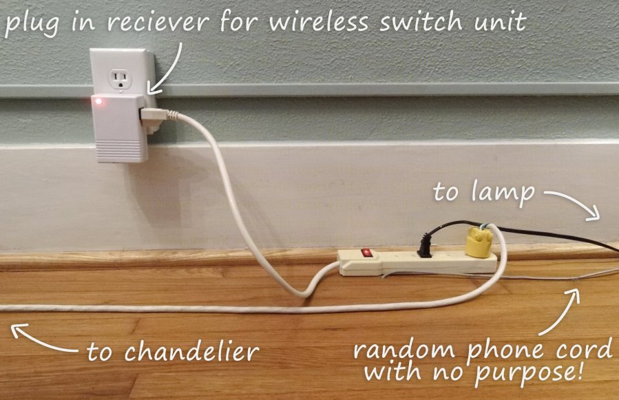 How to Hang a Chandelier in a Room without Wiring for an Overhead     how to add a wireless lightswitch to light a room without a hardwired outlet