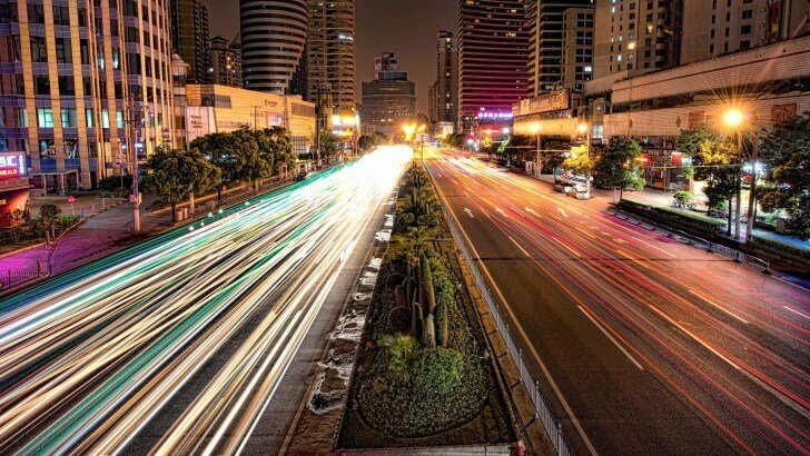 Busy Road In Shanghai At Night Wallpaper City