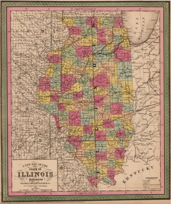 Illinois State 1850 52 Thomas  Cowperthwait Historic Map Reprint
