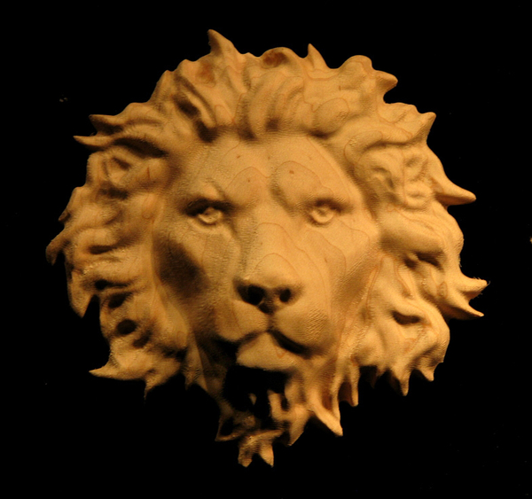 Onlay Regal Lion Head Carved Wood