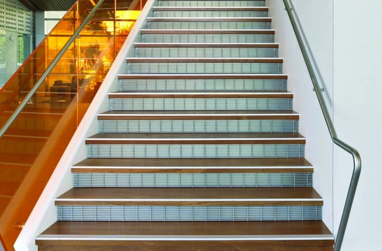 Metal Stair Treads Risers Perforated Metal Stair Panels | Tread Riser Staircase Design | Effective | Contemporary | Cad Detail | Folded Plate | Angled